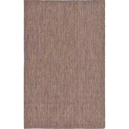 Unique Loom Outdoor Solid Rug, Brown