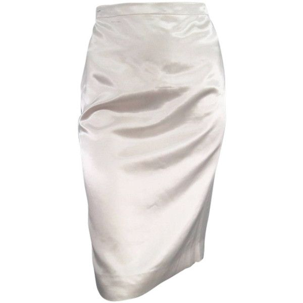 Preowned Lanvin Size 8 Cream Satin Pencil Skirt ($384) ❤ liked on Polyvore featuring skirts, bottoms, saias, white, pencil skirt, white satin skirt, white knee length skirt, cream skirt and shiny skirt