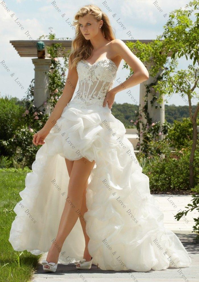 Custom Made Милая Высокий Низкий Свадебные Платья Короткие Передний Длинный Поезд Без Бретелек Длиной До Пола, Органза Свадебные Платья
