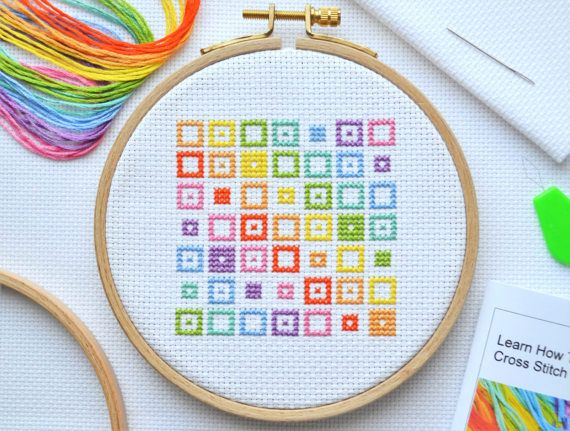 Cross Stitch Kit For Beginners   Tutorial Kit With Booklet