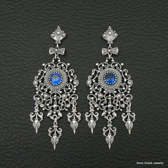 Sapphire Cz Earrings Filigree Style 925 Sterling Silver Greek