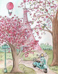 Pink And Aqua Vespa In Paris Eiffel Tower Print by Debbie Cerone