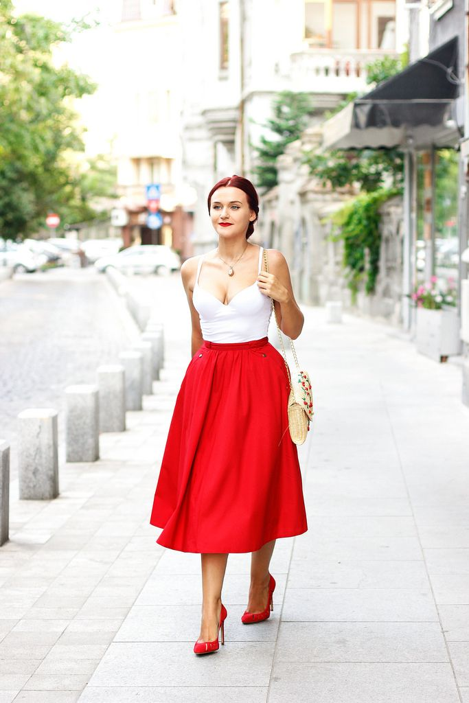 #red #midi #skirt
