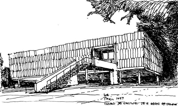 Dibujando a LC . 1957 MUSEO EN TOKIO