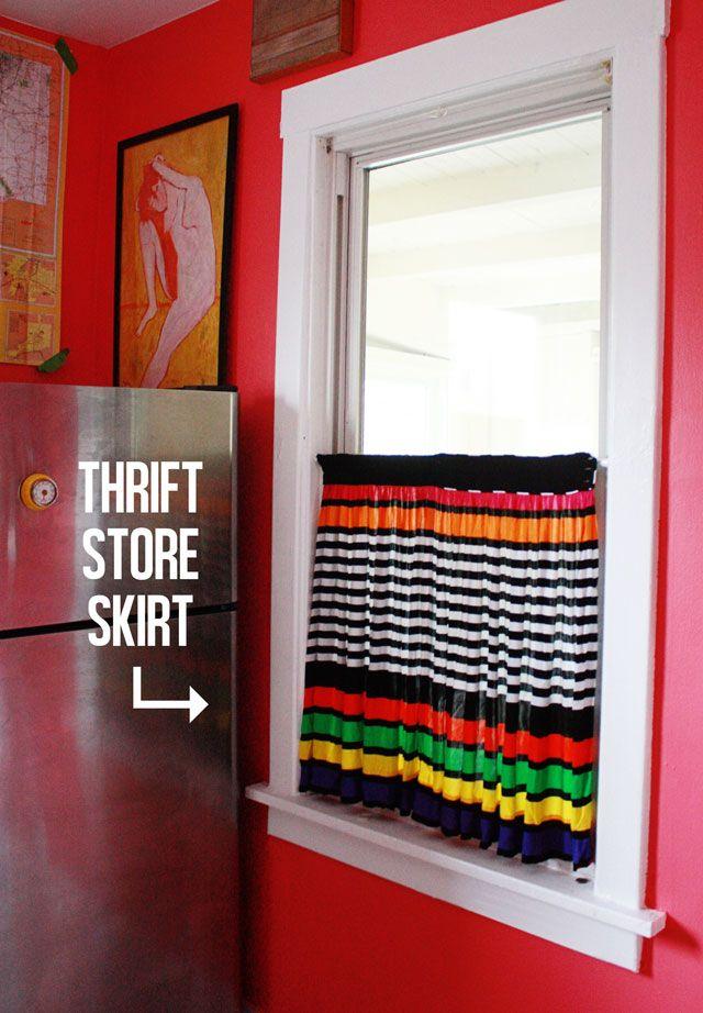 Thrift store skirt tuned curtain