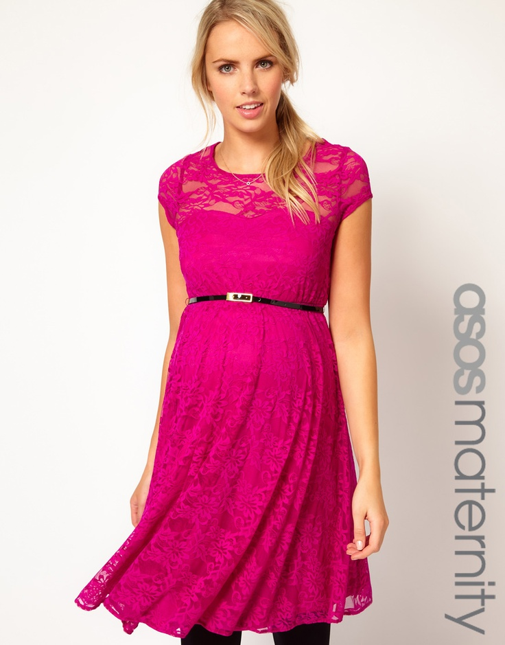 ASOS Maternity Lace Skater Dress With Belt