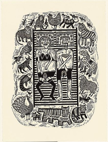 Artist: HANRAHAN, Barbara | Title: Adam and Eve in bed | Date: 1989 | Technique: linocut, printed in black ink, from one block