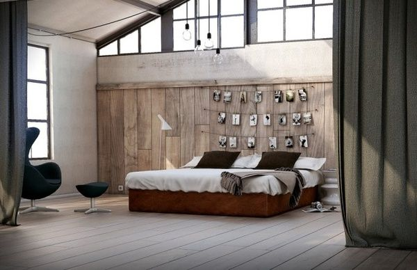 //: Hanging Pictures, Open Spaces, Features Wall, Bedrooms Design, Master Bedrooms, Woods Wall, Rustic Wood, Bedrooms Wall, Bedrooms Ideas