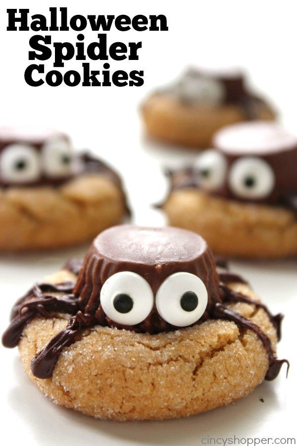 Halloween Spider Cookies - perfect party treat. We start with a simple peanut butter blossom cookie, top it with a Reese's Miniature, add on some eyes and some legs.