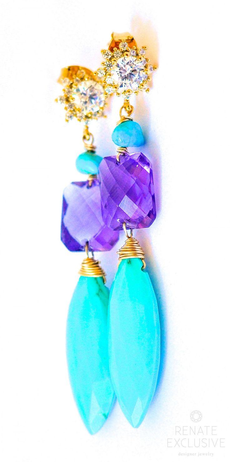 "Sleeping Beauty Turquoise and Amethyst Earrings "" Style"""