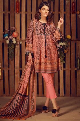 732a1771ed Khaadi Printed 3 Piece Lawn Collection Vol-2 Custom Stitched Suit - Pink -  A18211