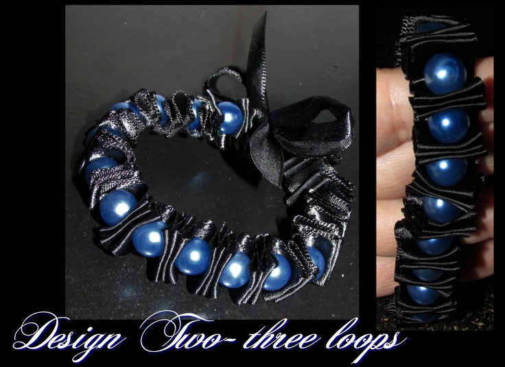 Handmade thin blue line inspired (thick) three loop 10mm pearl and black satin ribbon bracelet $15