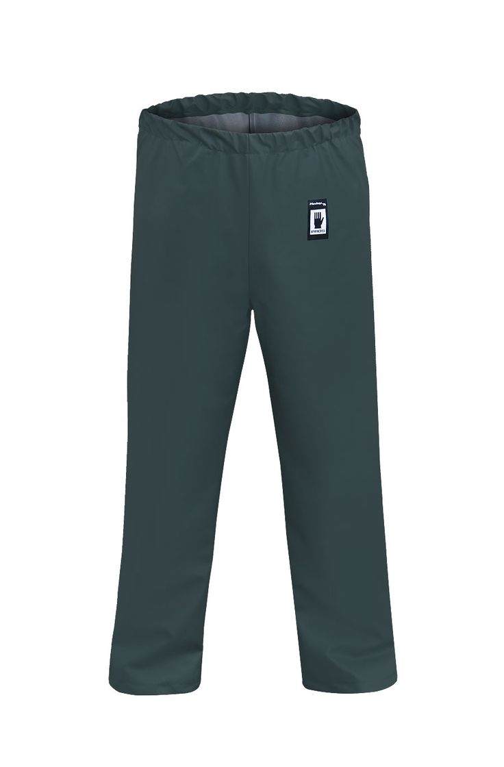WATERPROOF WAIST TROUSERS Model: 112 The model with elaticated waist and adjustable legs with snaps. The product is made of PVC/polyester fabric, called Plavitex. Thanks to double welded high frequency seams the product protects against rain and wind. The product conforms with the EN ISO 13688 and EN 343 standards.