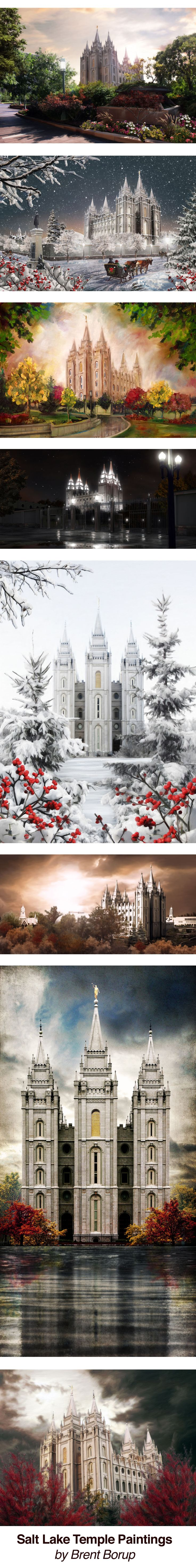 Salt Lake Temple paintings by Brent Borup- sooo pretty!