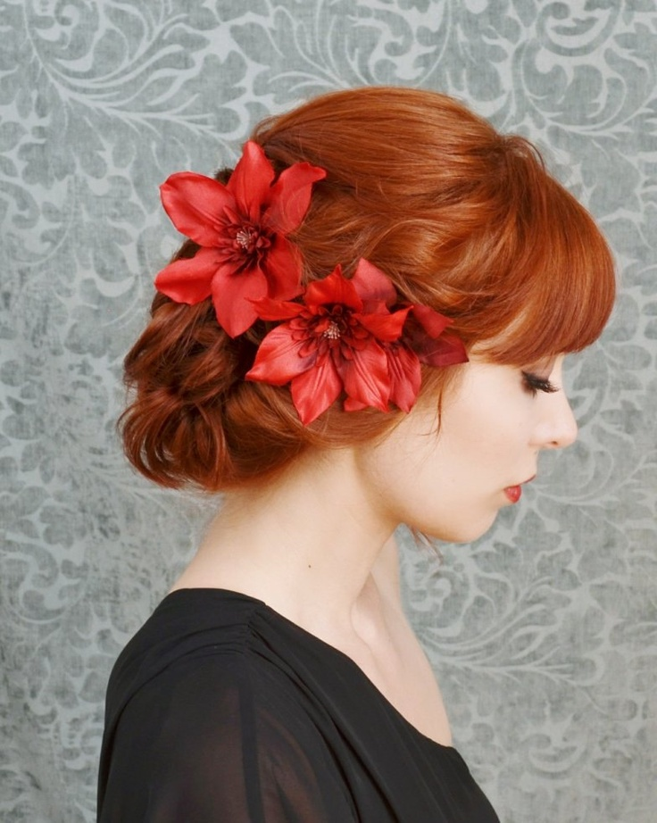 red flower headpiece floral clip