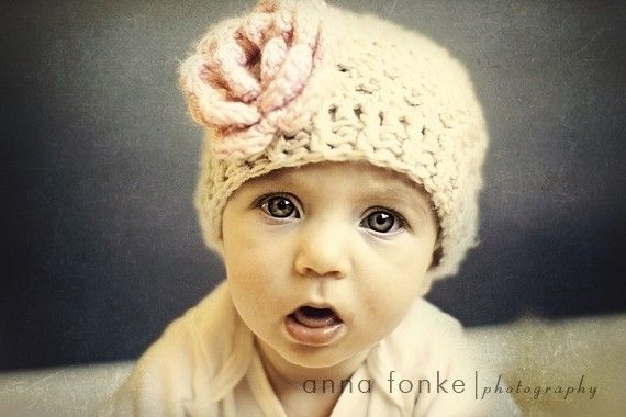 Crochet Baby Beanie Hat Crochet Hat With FlowerOatmeal by Karenisa, $18.00