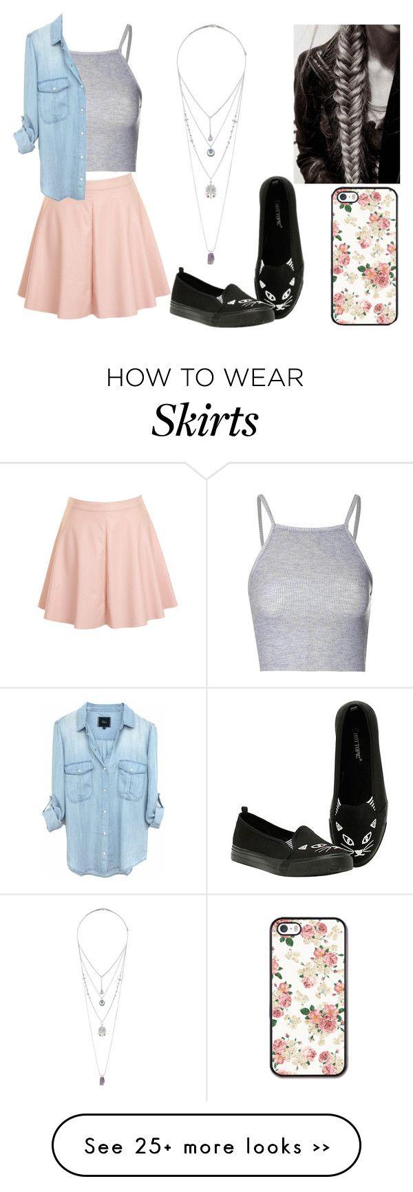 """Peach Skater Skirt"" by larrytattos on Polyvore"