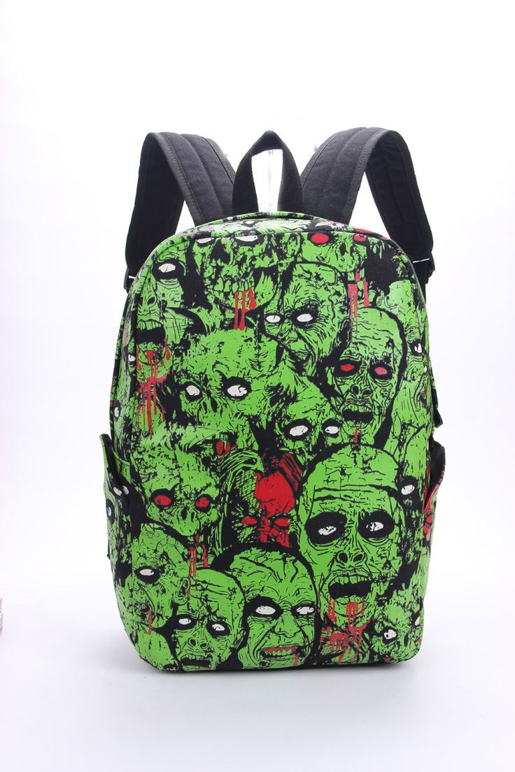 37.59$  Watch here - http://aliuns.shopchina.info/1/go.php?t=32815960815 - Men Women Unisex Zombie Attack Monster Backpack Rucksack Gothic Emo Punk Backpack School Bag Green Mochila Glow in the Dark 37.59$ #magazineonline