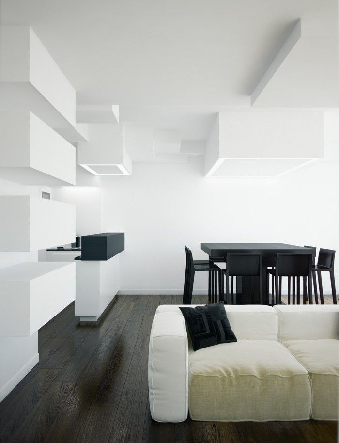 modern open plan living space.  I love the 3 dimensional ceiling. <3