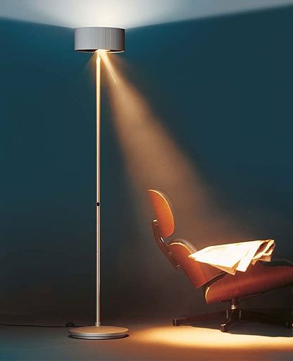 Diogenes Floor Lamp by KIng Miranda: Voted one of the 10 best lamps for readers, a halogen lamp provides general lighting while an additional dazzle-free and freely movable directional light source for direct reading light. #Lighting