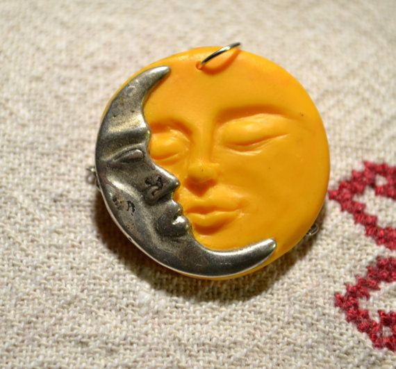 Moon and sun pendant by fanoulala on Etsy