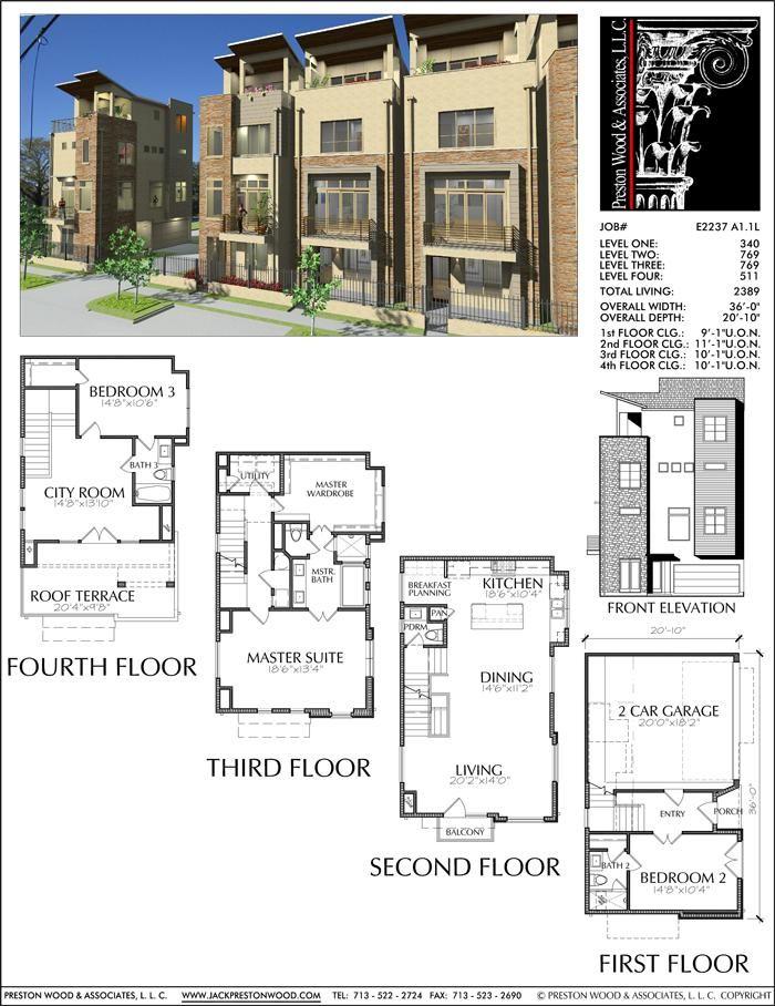 Four Story Townhouse Plan E2237 A1 1 Modern townhouse