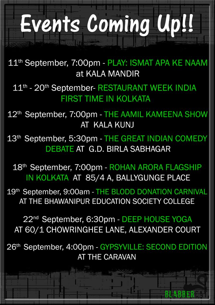 So are you ready for the upcoming new events!! Grab your passes for the dramas, exhibitions and many more.. Don't miss out any of them!! Go september!! Aamil Keeyan Khan​ Restaurant Week India​ Rohan Arora​ Bhawanipur Education Society College​  #events #exhibiton #fashion #blogger #blooddonation #comedy #drama #food