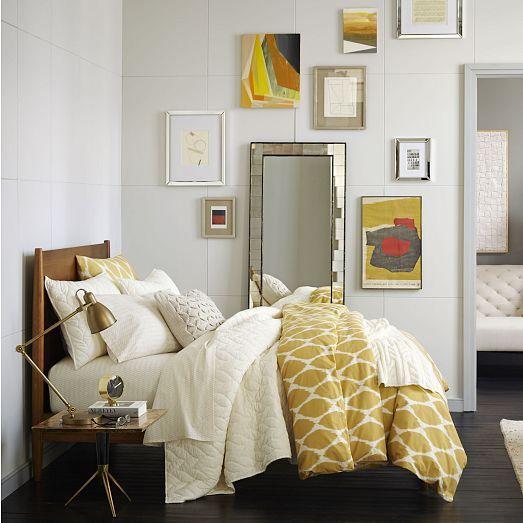 organic ikat ogee duvet cover shams horseradish west. Black Bedroom Furniture Sets. Home Design Ideas