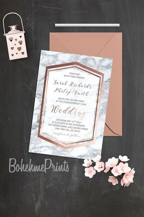 Rose Gold Marble Wedding Invitation Geode Wedding
