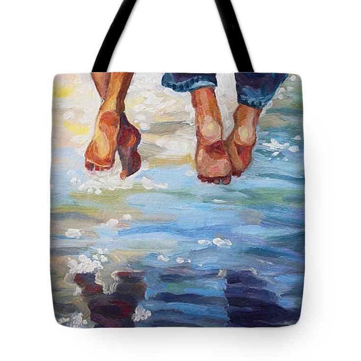 SIMPLY TOGETHER by ALINA MALYKHINA.   Belongs to the Gallery RUSSIAN ARTISTS NEW WAVE!.  Sunny summer day joy of couple sitting over the water. #RussianArtistsNewWave #AlinaMalykhina #Water #Summer #Love #Joy #Art #Painting #ArtForHome #Bag #ToteBag