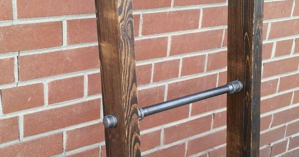 Rustic industrial pipe and wood blanket ladder | steel wood quilt ladder | rustic quilt blanket ladder | pipe wood decor blanket ladder | A well, Stains and In…