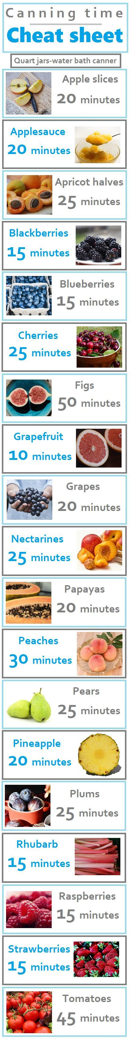 Save now for whenever I need to know processing times for canning fruit…