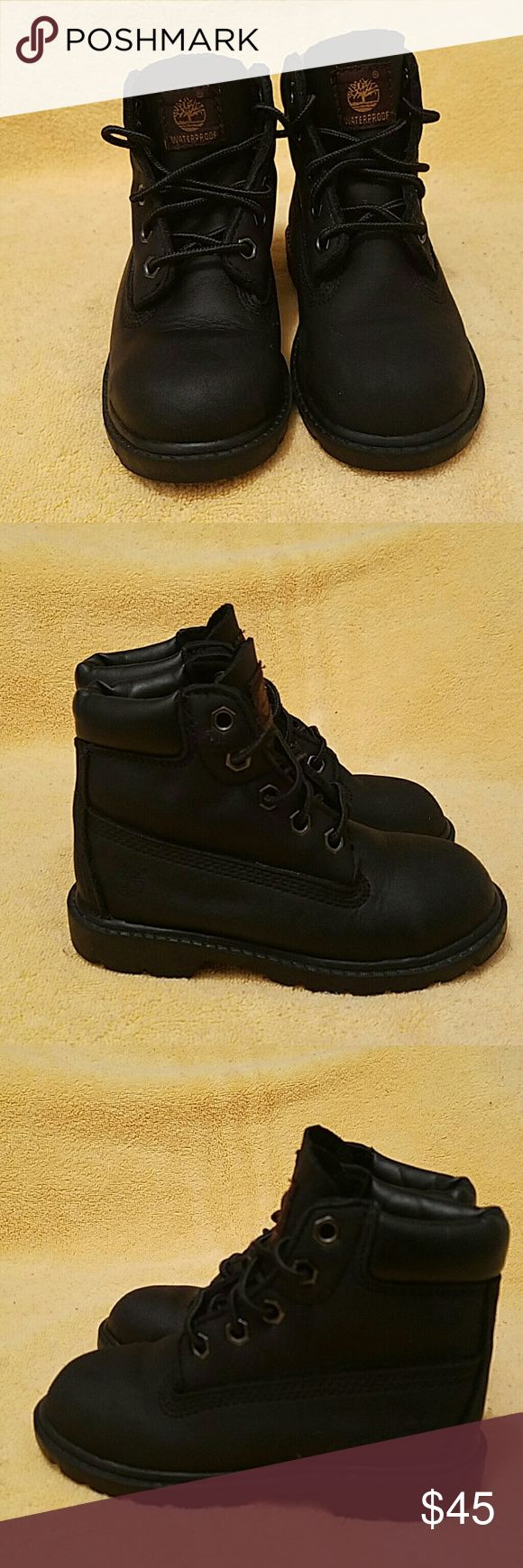 Timberland kids boots. Size 9 These Boots are in great used condition. Please refer to the pictures they are kids size 9 they are black in color they are like new. Timberland Shoes Boots