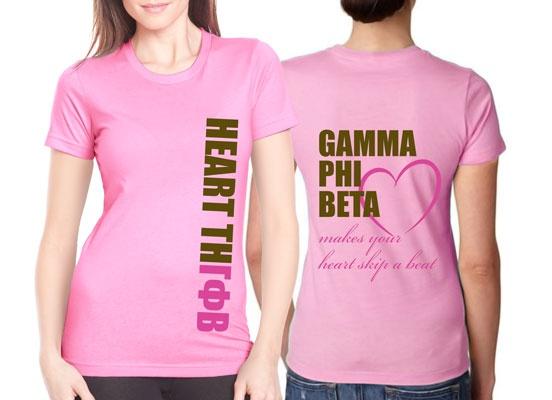 "Sorority Rush / Recruitment Shirt ""heartthrob"" Design! Perfect for Gamma Phi Beta!  #sorority #Greek #rush #bidday #recruitment"
