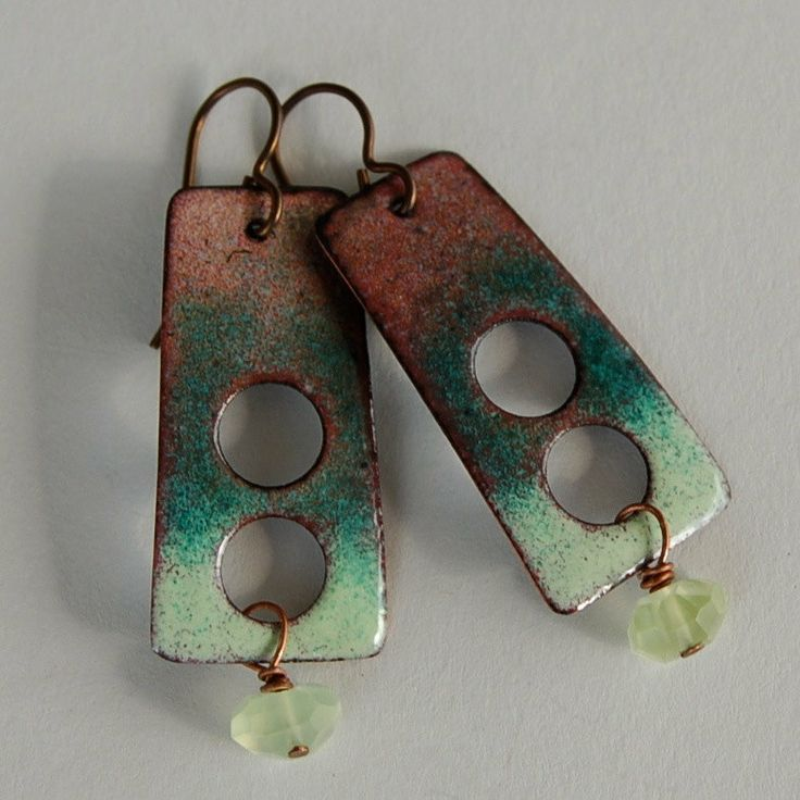 Green Enameled Copper and Prehnite Torch Fired by Pobbletoes, $36.00