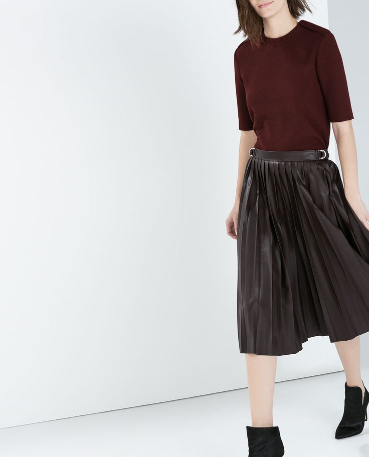 Faux leather pleated midi skirt - by Zara