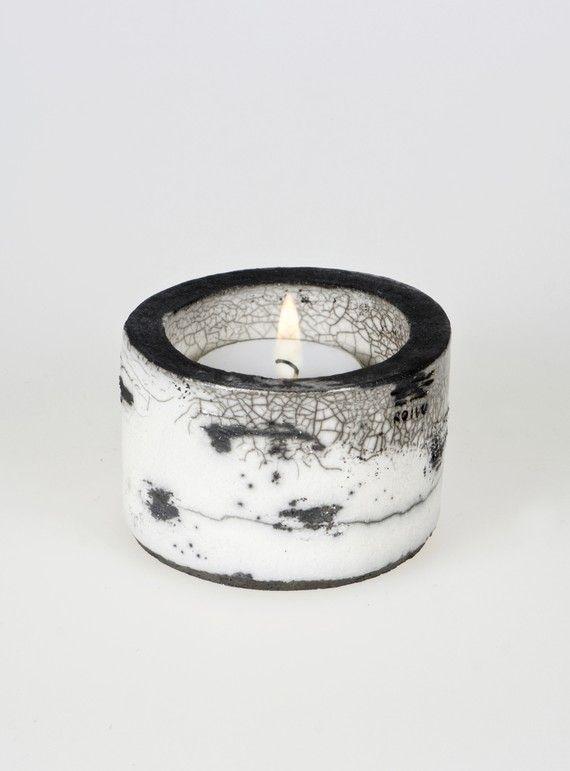 Koivu Birch range Raku Ceramic Tea Light Holder 'Kippo' by Maari, €29.00