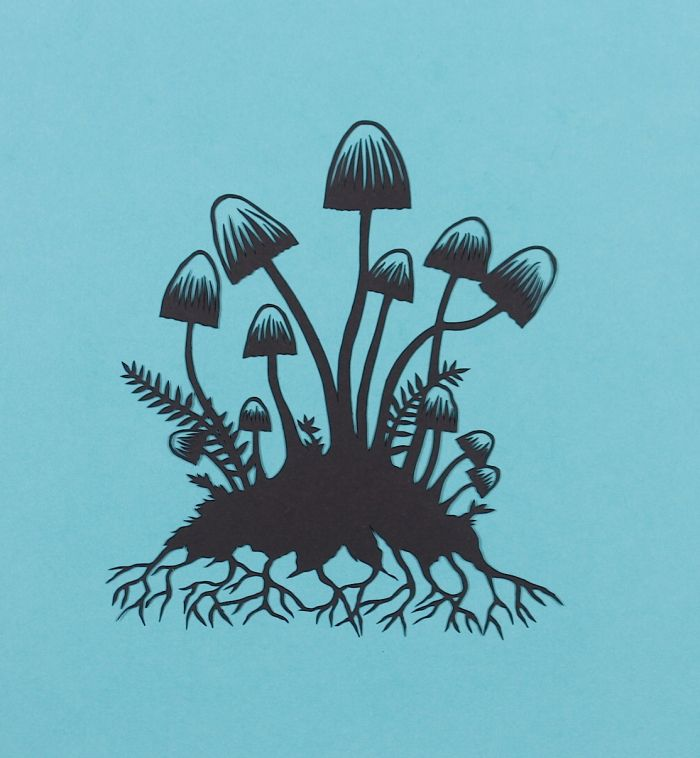 'Mushrooms 01' by Stories In Paper (Ellie Chaney). Handmade papercut floating on mountboard, 2015.