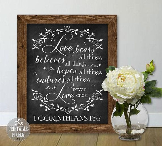1 Corinthians 13 Printable Wedding Sign / Love Bears All Things / Bible Verse / Chalkboard / 5 Sizes / Instant Download PDF