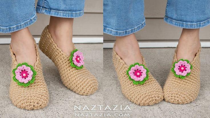 DIY Tutorial - Crochet Sweet Simple Slippers - Soft Shoes Booties Bedroo...