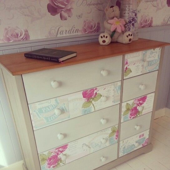 A stunning large chest of drawers / dresser / sideboard, painted with Annie Sloan chalk paint and decoupage to the drawer fronts.  Another beautiful piece from Chic Boutique Furniture in Leicester.