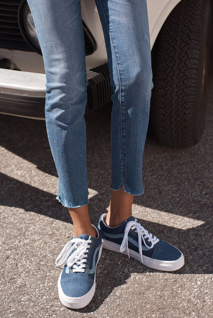 "madewell x vans sneakers worn with 10"" high-rise skinny jeans."