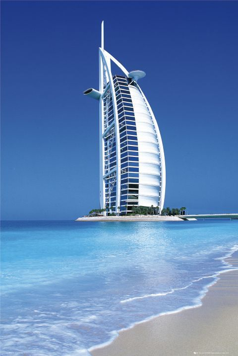 Burj Al Arab, Dubai, U.A.E.  One of the highest hotels in the world at 321 m (1,053 ft). #hotels