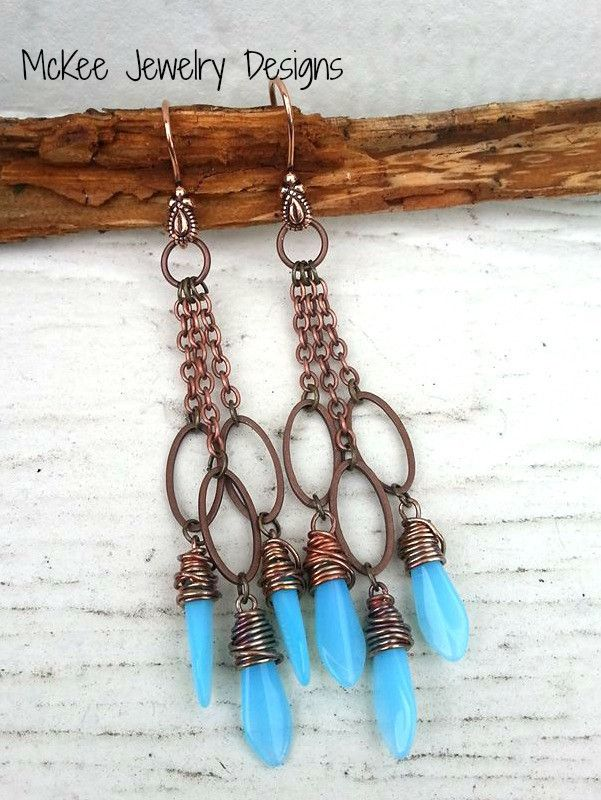 Sky Blue Picasso Czech glass daggers and Long copper earrings. McKee Jewelry Designs