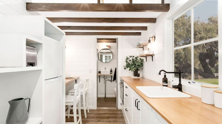 Kitchen with tiny dining bench