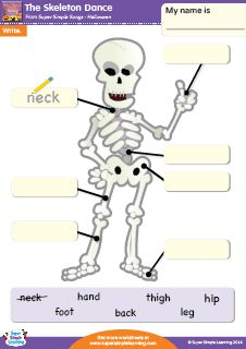 """The Skeleton Dance"" Halloween Writing Worksheet from Super Simple Learning. #kindergarten #earlyelementary #ESL"