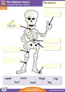 """The Skeleton Dance"" Halloween Writing Worksheet from Super Simple Learning. #kindergarten #earlyelementary #ESL"