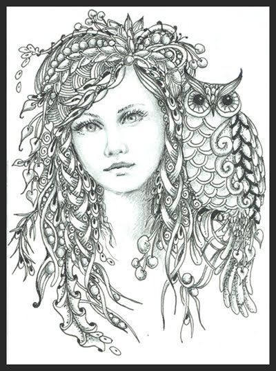 intricate fairy coloring pages fairy of the forest norma j burnell czt zen coloring art. Black Bedroom Furniture Sets. Home Design Ideas