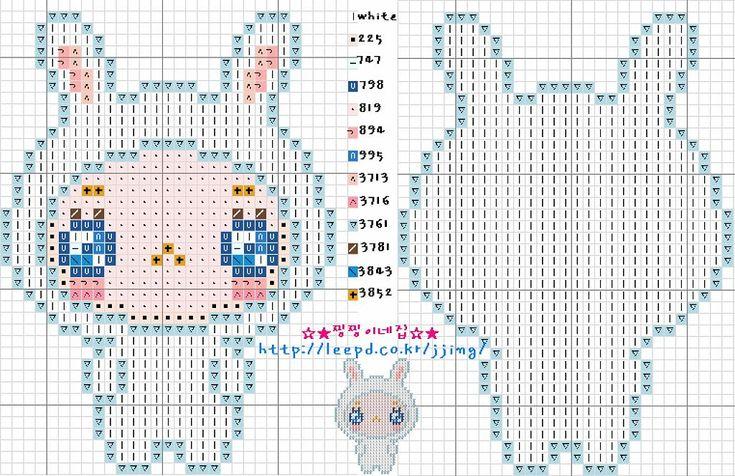 Cute Bunny Kid Hama Perler Bead Pattern or Cross Stitch Chart