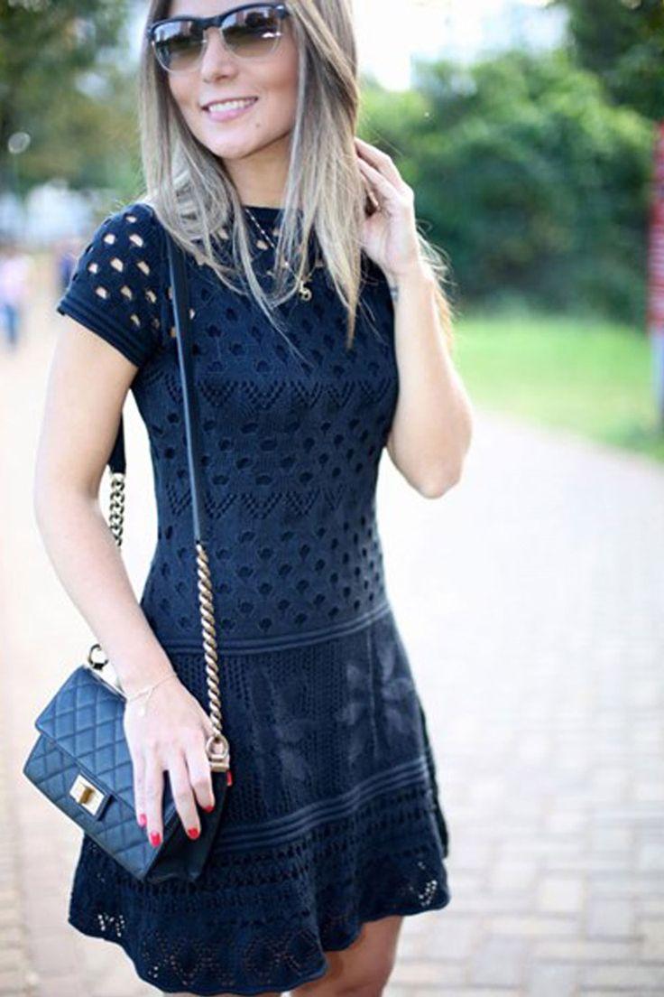 Vestido tricot furinhos acinturado preto | Galeria Tricot - Galeria Tricot